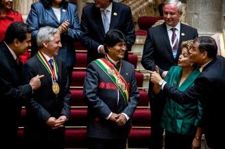 """22-01-2015. La Paz. Bolivia. Se realizó la """"toma de mando"""" del gobierno Boliviano donde Juan Evo Morales Ayma inició su tercer mandato. Ceremonia protocolar con mandatarios de diversos paises en el palacio de gobierno."""