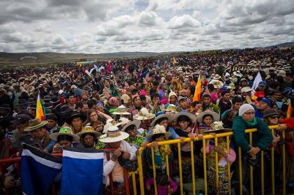 """21-01-2015. Tiawanaku. La Paz. Bolivia. Ceremonia """"ancestral"""" realizada en el sitio arqueológico de la ciudad de Tiwanaku en homenaje a Evo Morales tras ganar elecciones y obtener su tercer mandato presidencial."""