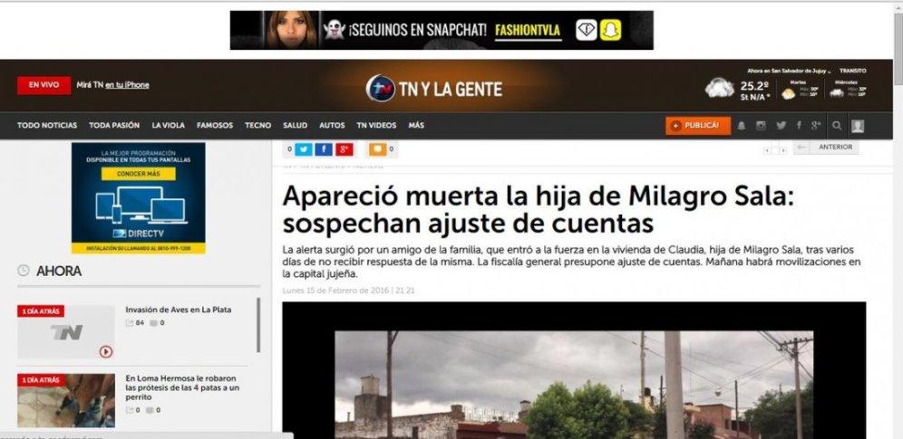 TN aseguró la muerte de la hija de Milagro Sala