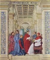 BIBLIOTECA El papa Sixto IV nombra a Bartolomeo Platina prefecto de la Biblioteca Vaticana, fresco de Melozzo da Forlì