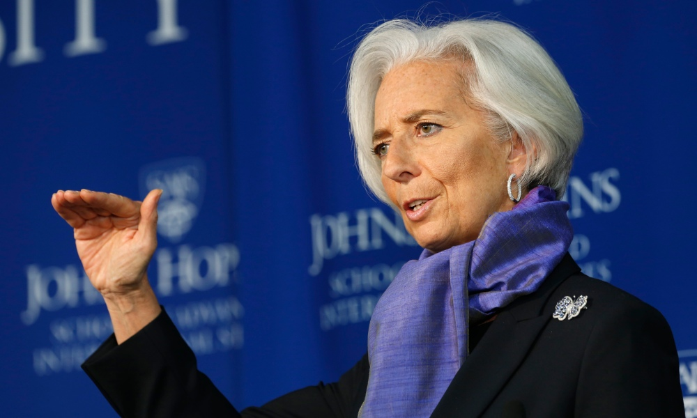 International Monetary Fund Managing Director Lagarde gestures as she speaks about the global economy at the Johns Hopkins School of Advanced International Studies in Washington