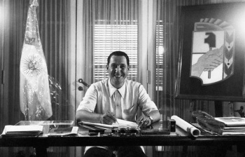 Argentina --- Juan Domingo Peron: (Born 1895) South American Dictator in his office. (Original Caption) --- Image by © Bettmann/CORBIS